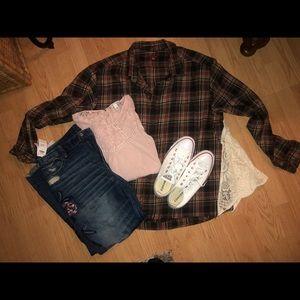 Merona XXL Custom SWING FLANNEL shirt top blouse